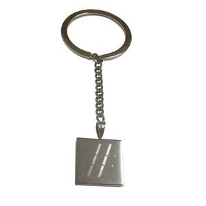 Etched Pound Hash Tag Symbol Pendant Keychain